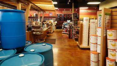 The water storage section at the Emergency Essentials store in Murray, Utah.