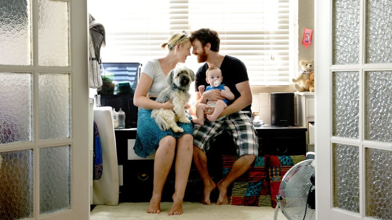 MATCH: Janin Mayer and Evi Bitran, pictured with their son Elliav, met via dating website RSVP. They married 18 months later.