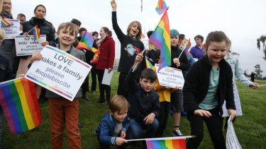 Rainbow Families opposed to a plebiscite on same sex marriage outside Parliament House last year.