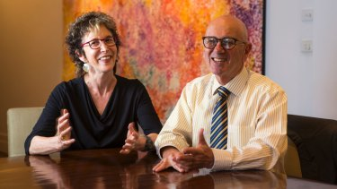 Retiring magistrate Greg Levine poses for a photo with his wife Barbara in Melbourne.
