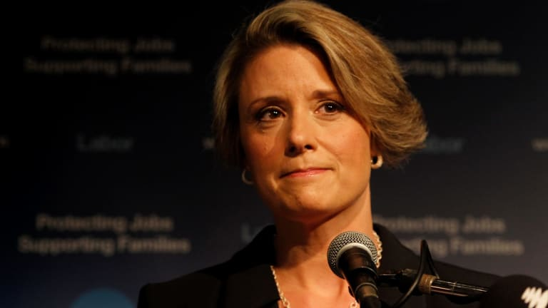 "Kristina Keneally in 2011, conceding defeat in the NSW election. ""I view the Christian gospel from a social-justice perspective."""