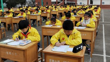 Primary school students in Jinhua City, Zhejiang province.