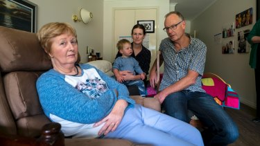 The Barnett family in the Yarra Junction aged-care facility where Wendy now lives.