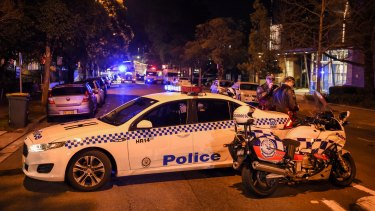 """Emergency services at the scene of a """"deliberate"""" attack Merrylands Police Station."""