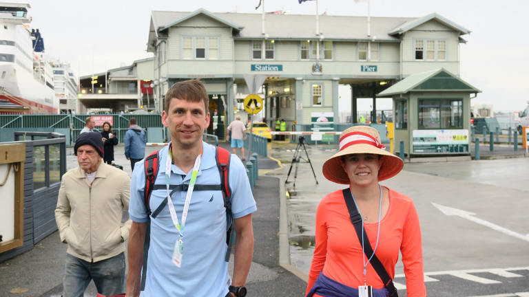 Ashley and Trevor Wagner at Station Pier in Port Melbourne, decided to abandon the cruise.