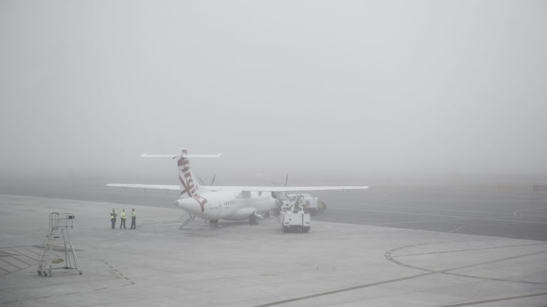 Heavy fog caused minor delays to flights at Canberra Airport.