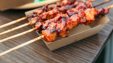 Pork belly skewers with banana ketchup glaze from Hoy Pinoy.