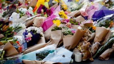 A mountain of flowers was placed on Bourke Street Mall in the wake of the massacre.