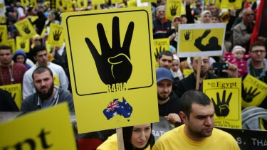 Australian community groups protest the massacre at the Rabaa al-Adawiya mosque in Cairo in August 2013.