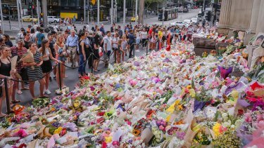 The growing Bourke Street memorial.