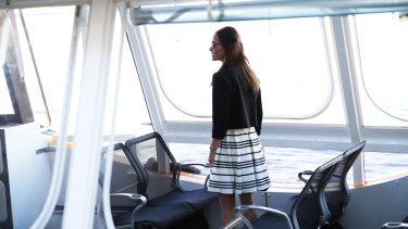 Pippa Middleton on a water taxi in Sydney on Wednesday.