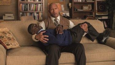 Dwayne Johnson as Robbie Weirdicht and Kevin Hart as Calvin Joyner in buddy movie Central Intelligence.