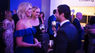 Sylvia Jeffreys, Rebecca Vallance and Anthony Minichiello at the MAAS Ball.