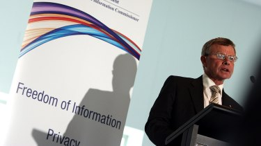 Happier times: Professor John McMillan launches the apparently doomed Office of the Australian Information Commissioner in 2010.