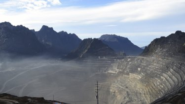 A view of the Grasberg copper and gold mine near Timika, Papua province.