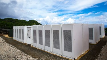 A smaller-scale Tesla battery farm.