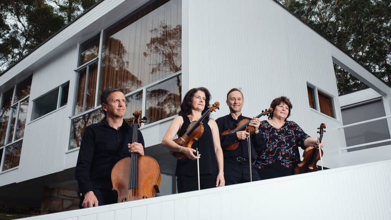 The Goldner Quartet, Julian Smiles, Dimity Hall, Dene Olding and Irina Morozova at the Rose Seidler House in Wahroonga.