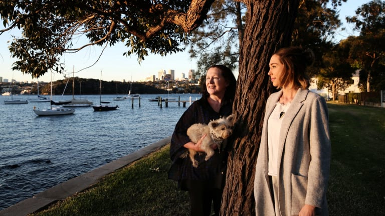 Tom Uren's widow, Christine Logan, and her daughter Ruby at Propeller Park, Balmain, part of a new walking trail to honour the former Labor minister.