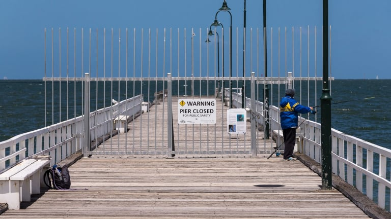 A beautiful summer's day on the partially closed Kerferd Road Pier in Albert Park.