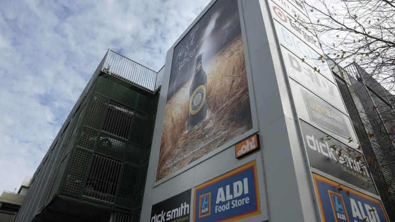 The ACT's biggest billboard ads are at the Canberra Centre, facing traffic on Cooyong Street.