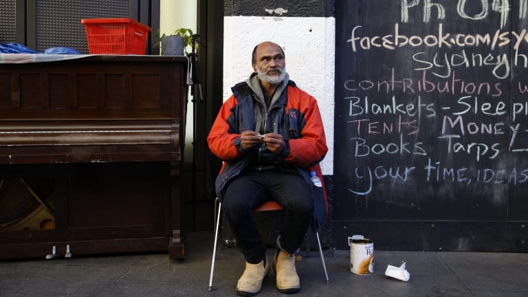 Lanz Priestley, the unofficial mayor of the homeless tent city camp in Martin Place.