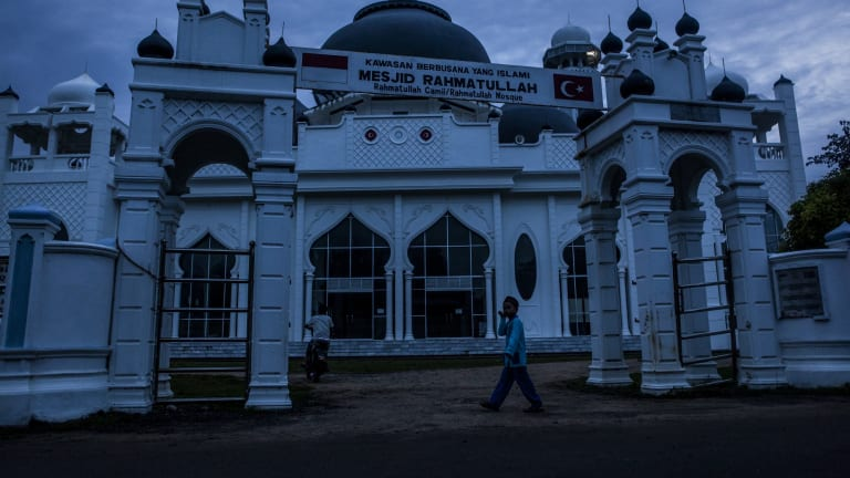 This mosque, 20 kilometres from Aceh's capital Banda Aceh, was the only building left in the area after the tsunami.