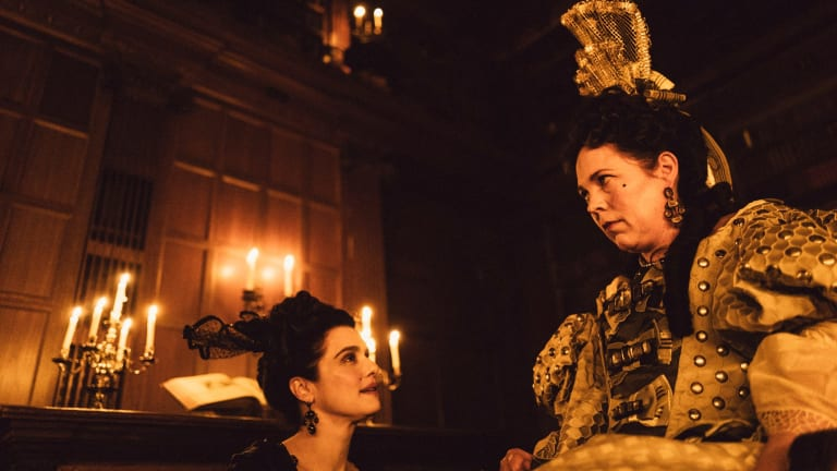 Rachel Weisz, left, and Olivia Colman star in The Favourite.
