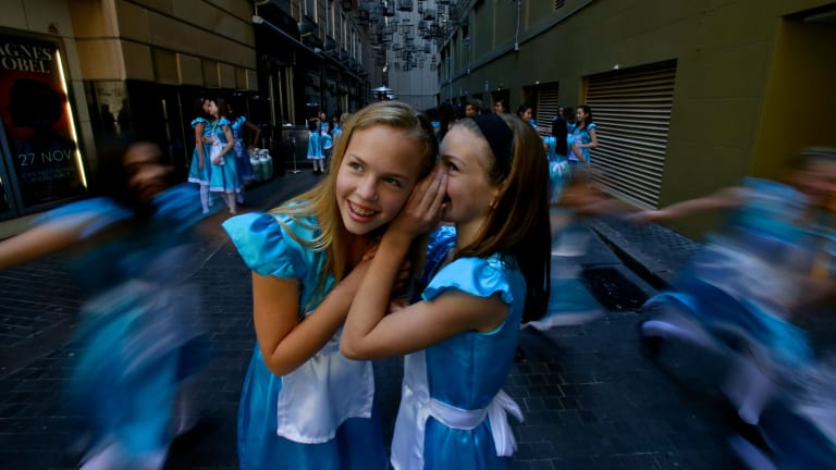 Adventures in the city: Maddy Long (left) and Maya Felice, two of the year 6 students from MLC School who  were inspired by Lewis Carroll's classic tale.