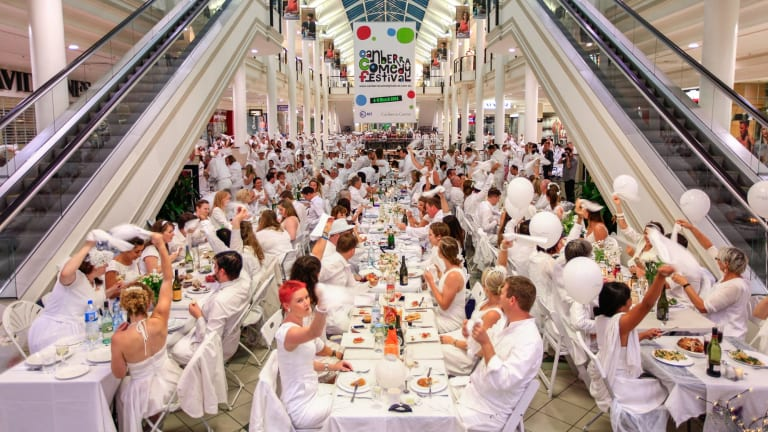 Last year's Diner en Blanc event, relocated to the Canberra Centre.
