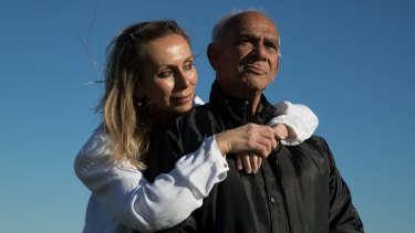 Claude Timbery with his daughter, Alison Timbery in La Perouse, Sydney. Claude is participating in the Koori Growing Old Well Study, into the effect of childhood trauma on increasing the likelihood of dementia. Alison is a research assistant on the project by Neuroscience Reearch Australia.
