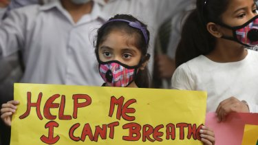 An Indian girl at Sunday's protest.
