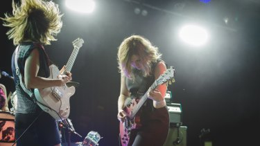 Masterful: Sleater-Kinney's Carrie Brownstein and Corin Tucker overcame early sound issues.