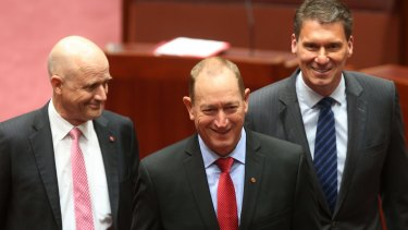 Senator Fraser Anning was escorted by Senator David Leyonhjelm and Senator Cory Bernardi at Parliament House on Monday, as he was sworn in as a One Nation senator. An hour later, he was an independent.