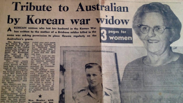 Tear sheet of 1964 newspaper story about the special bond between Mrs Kim and Mrs Healy.