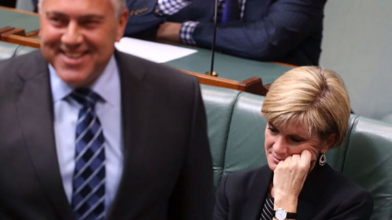 Foreign Minister Julie Bishop during a speech by Treasurer Joe Hockey at Parliament House in Canberra on Monday.