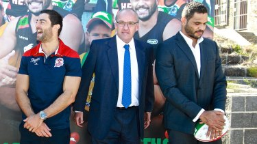 Opposition Leader Luke Foley with league stars Anthony Minichiello (left) and Greg Inglis.