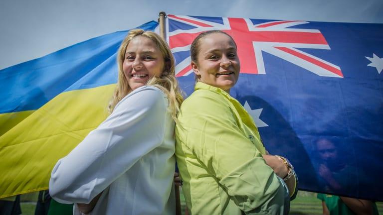 Fed Cup top seeds Marta Kostyuk (Ukraine) and Ash Barty (Australia).