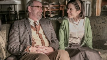 Richard Jenkins as Giles and Sally Hawkins as Elisa in <i>The Shape of Water</i>.