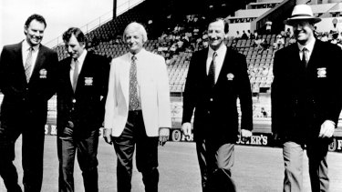 Golden Age: The 1993 Channel Nine cricket commentary team (from left) Greg Chappell, Ian Chappell, Richie Benaud, Bill Lawry and Tony Greig.