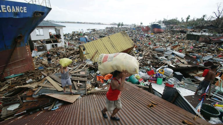 Data shows 22 million people were displaced by extreme events in 2013, led by Typhoon Haiyan, three times more than the number displaced by conflicts.