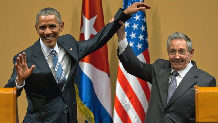 Cuban President Raul Castro and US President Barack Obama in Havana in March. Donald Trump pledged to undo Mr Obama's detente with Cuba.