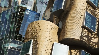 The brick facade of the new UTS Gehry building is starting to come out from behind the scaffolding.