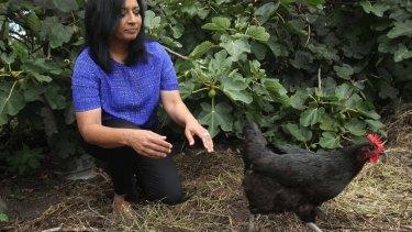 Mehreen Faruqi at the Randwick Community Organic Garden.