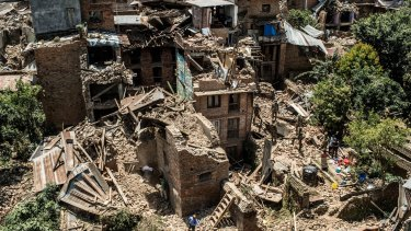 Collapsed buildings in Sankhu, Nepal after the earthquake.
