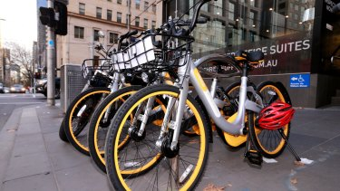 Ranks of the orange bikes have been seen on Melbourne streets.