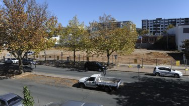 A cleared block of land ready for redevelopment in Lonsdale Street.