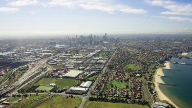 An aerial view of the land that will form the new suburbs of Fishermans Bend.