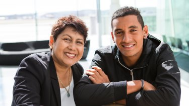Nick Kyrgios in Canberra with his mum, Nill.