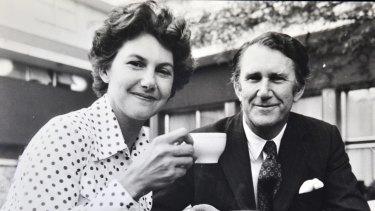 Former Prime Minister Malcolm Fraser and Tamie Fraser enjoy tea at the Canberra Rex Hotel.