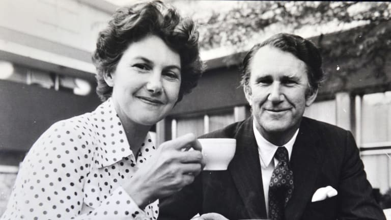 Former Prime Minister Malcolm Fraser and Tamie Fraser enjoy tea at the Canberra Rex Hotel.